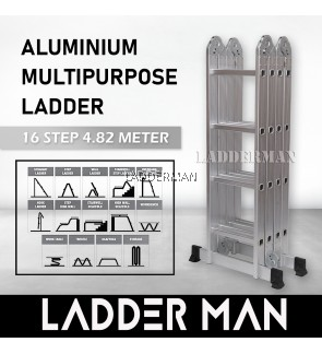 16 STEP MULTIPURPOSE ALUMINIUM LADDER 4.82M