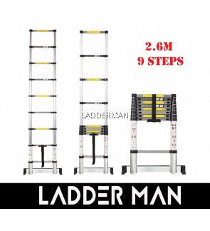 HIGH QUALITY ALUMINIUM TELESCOPIC EXTENDABLE LADDER 2.6M WITH 9 STEPS