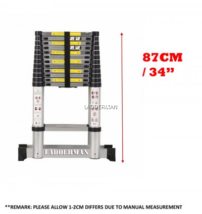 DS38 DOUBLE-SIDED TELESCOPIC EXTENDABLE ALUMINIUM LADDER WITH STABILIZE BAR 3.8M