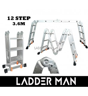 12 STEP MULTIPURPOSE ALUMINIUM LADDER 3.6M