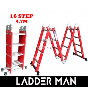 16 STEP RED EDITION MULTIPURPOSE ALUMINIUM LADDER 4.7M