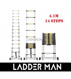 HIGH QUALITY ALUMINIUM TELESCOPIC EXTENDABLE LADDER 4.1M WITH 14 STEPS