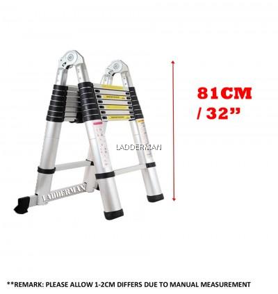 3.8M (1.9M+1.9M) DOUBLE-SIDED MULTIPURPOSE TELESCOPIC EXTENDABLE ALUMINIUM LADDER T2W19