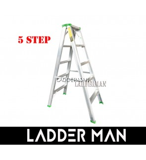 """STRONGMAN DS5 47"""" ALUMINIUM DOUBLE SIDED 5 STEPS LADDER"""
