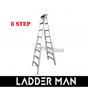 """STRONGMAN DS8 77"""" ALUMINIUM DOUBLE SIDED 8 STEPS LADDER"""