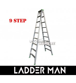 """STRONGMAN DS9 87"""" ALUMINIUM DOUBLE SIDED 9 STEPS LADDER"""