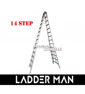 """STRONGMAN DS14 137"""" ALUMINIUM DOUBLE SIDED 14 STEPS LADDER"""