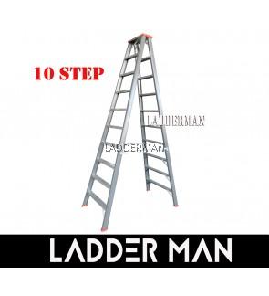"STRONGMAN DH10 97"" HEAVY DUTY ALUMINIUM DOUBLE SIDED 10 STEPS LADDER"