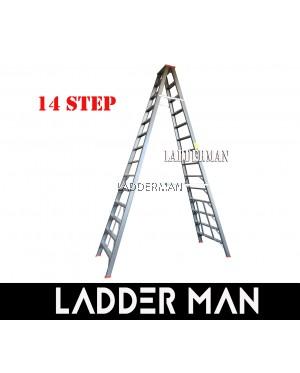"STRONGMAN DH14 137"" HEAVY DUTY ALUMINIUM DOUBLE SIDED 14 STEPS LADDER"
