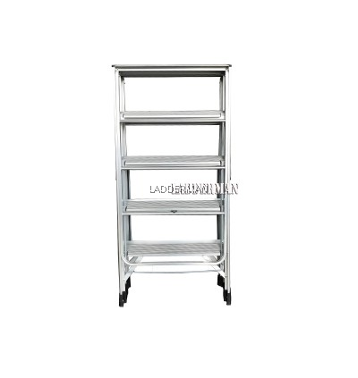 2 IN 1 MULTIFUNCTIONAL 5 STEP FOLDING ALUMINIUM LADDER WITH CLOTH HANGER