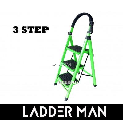 3 Step Medium Duty Foldable Steel Ladder With Hand Grip
