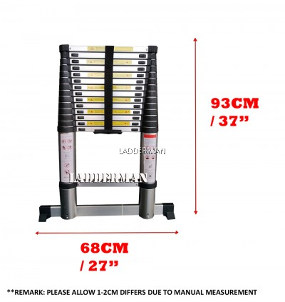 HIGH QUALITY ALUMINIUM TELESCOPIC EXTENDABLE LADDER 4.4M WITH 15 STEPS