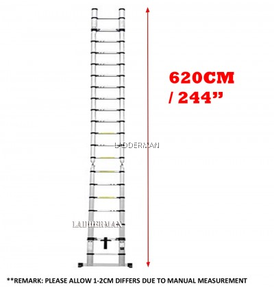 6.2M (3.1M+3.1M) DOUBLE-SIDED MULTIPURPOSE TELESCOPIC ALUMINIUM LADDER