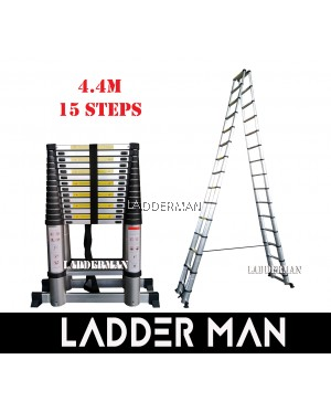 DS44 DOUBLE-SIDED TELESCOPIC ALUMINIUM LADDER WITH STABILIZE BAR 4.4M