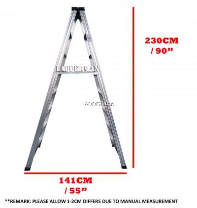Ladderman Heavy Duty Aluminium Double Sided Ladder (8 STEP)