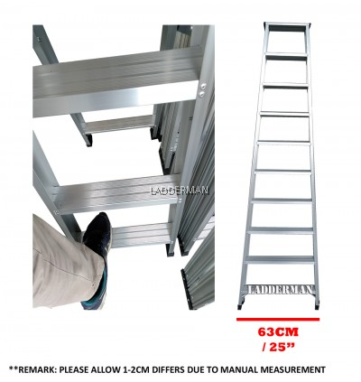 Ladderman Heavy Duty Aluminium Double Sided Ladder (10 STEP)