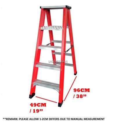 5 Step Fiberglass Double Sided Ladder 1.5M