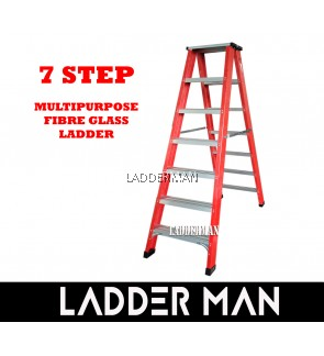 7 Step Fiberglass Double Sided Ladder 2.1M
