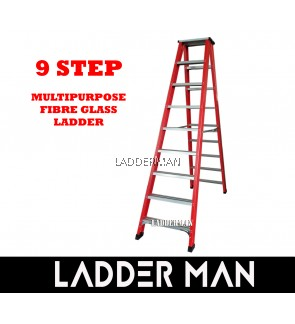 9 Step Fiberglass Double Sided Ladder 2.7M