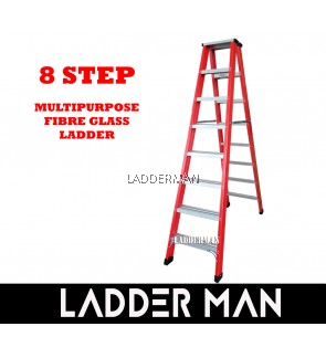 8 Step Fiberglass Double Sided Ladder 2.4M