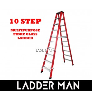 10 Step Fiberglass Double Sided Ladder 3M