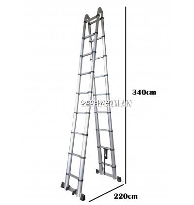 7.2M (3.6M+3.6M) DOUBLE-SIDED MULTIPURPOSE TELESCOPIC ALUMINIUM LADDER