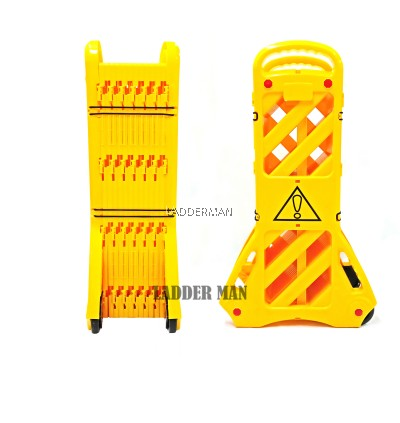 4M Safety Barricade Extendable Road Barrier Foldable Safety Divider with Wheels