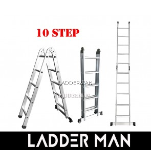 10 STEP ALUMINIUM TWO WAY MULTIPURPOSE LADDER