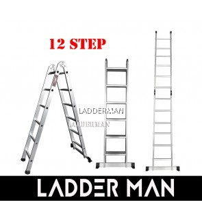 12 STEP ALUMINIUM TWO WAY MULTIPURPOSE LADDER