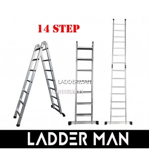 14 STEP ALUMINIUM TWO WAY MULTIPURPOSE LADDER