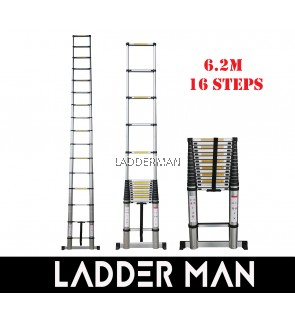 HIGH QUALITY ALUMINIUM TELESCOPIC EXTENDABLE LADDER 6.2M WITH 16 STEPS