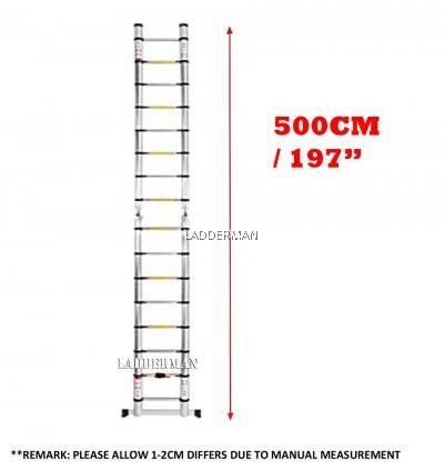 5M (2.5M+2.5M) DOUBLE-SIDED MULTIPURPOSE TELESCOPIC ALUMINIUM LADDER WITH ROLLER