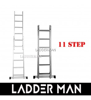 11 STEPS ALUMINIUM DOUBLE EXTENSION LADDER