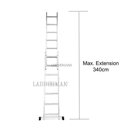 13 STEPS ALUMINIUM DOUBLE EXTENSION LADDER