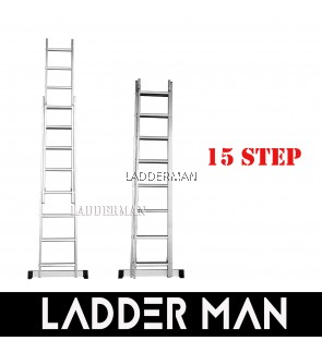 15 STEPS ALUMINIUM DOUBLE EXTENSION LADDER