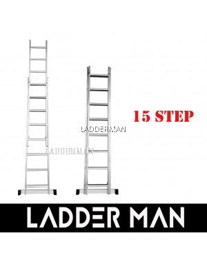 15 STEPS ALUMINIUM DOUBLE EXTENSION LADDER
