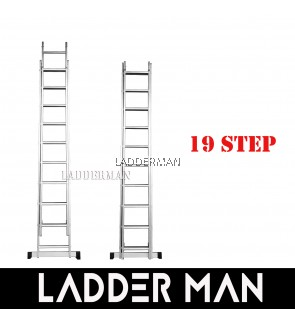19 STEPS ALUMINIUM DOUBLE EXTENSION LADDER