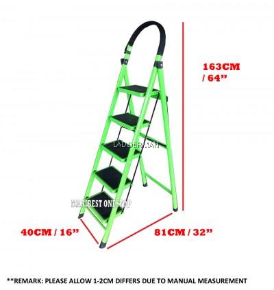 5 Step Medium Duty Defective Foldable Steel Ladder With Hand Grip