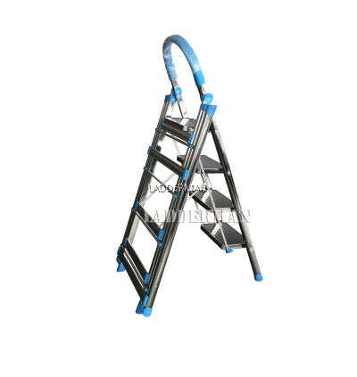 2 in 1 Multipurpose Stainless Steel Step Ladder With Cloth Hanger Drying Rack – 4 Steps