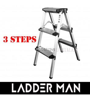 3 Step Lightweight Foldable Aluminium Frame Double-Sided Stool Ladder