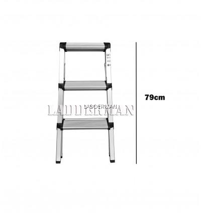 3 Step Lightweight Foldable Aluminium Frame Double-Sided Stool Ladder