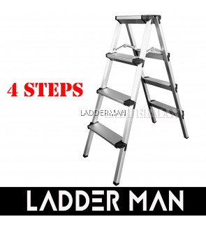 4 Step Lightweight Foldable Aluminium Frame Double-Sided Stool Ladder
