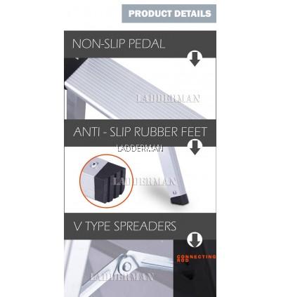 4 Step Lightweight Foldable Aluminium Frame Double-Sided Stool Ladder