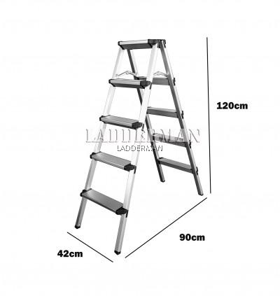 5 Step Lightweight Foldable Aluminium Frame Double-Sided Stool Ladder