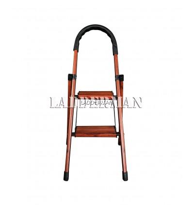 2 Step Wood Grain Aluminium Step Ladder