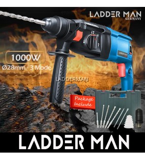 Ladderman GBH 2-28 28mm 1000W 3 Mode Rotary Hammer Drill Free Accessories