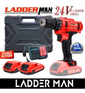 [PACKAGE] LDM-24V-2LI LADDERMAN Cordless Hammer Impact Drill Screwdriver with 2 Battery Pack
