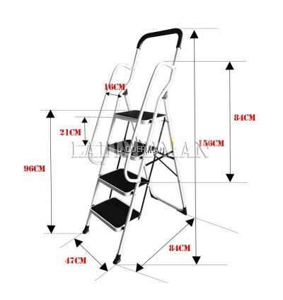 4 Step Side Support Safety Handle Foldable Step Stool Steel Ladder with Soft Hand Grip