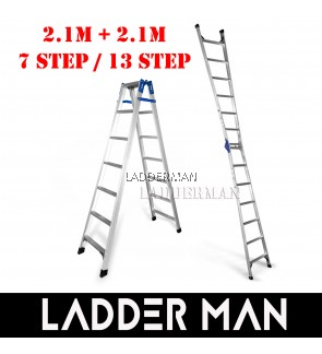 (2.1M + 2.1M) 4.2M 13 Step Multifunctional Dual Purpose Two Way Aluminium Ladder