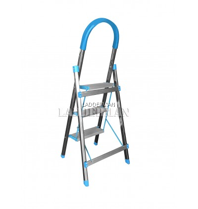 3 Step Stainless Steel Aluminium Pedal Foldable Stool Ladder with Soft Hand Grip [SSA03]